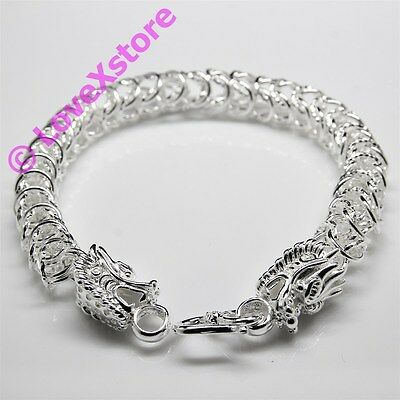 925 Sterling Silver Plated Dragon Head Chain Bracelet Fashion Bangle Bracelets