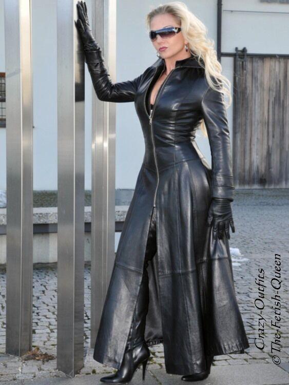 Ledermantel Leder Mantel black Knöchellang Figurbetont Maßanfertigung
