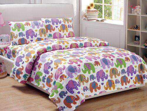 Fancy Linen 4pc Girls Elephant White Purple Pink Yellow Green Full Sheet Set New