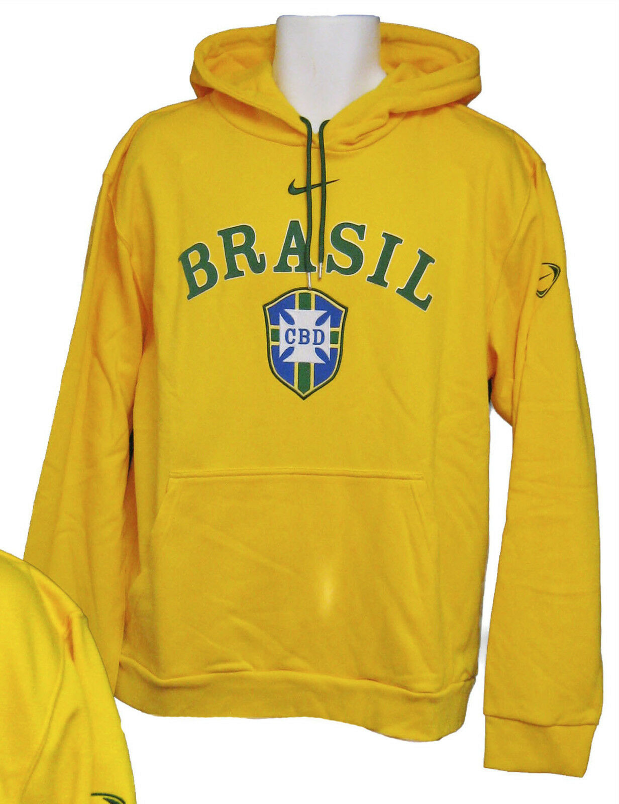 New NIKE Vintage  CBD BRAZIL BRASIL Football Cotton Hoodie Canary Yellow Large