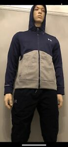 "Under Armour Icon Full Zip Sweat à Capuche Veste Bleu Marine/gris Moyen 40/42"" Poitrine-afficher Le Titre D'origine"