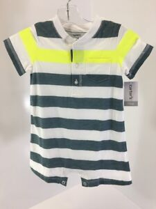 d46f23ccb CARTER S BABY BOY STRIPED JERSEY ROMPER WHITE NEON YELLOW BLUE ...