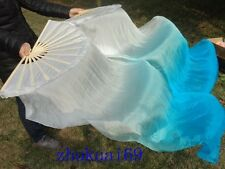 1 Pair Hand made Chinese Belly dance 100% real silk fan veil White/ Blue (1.5m)