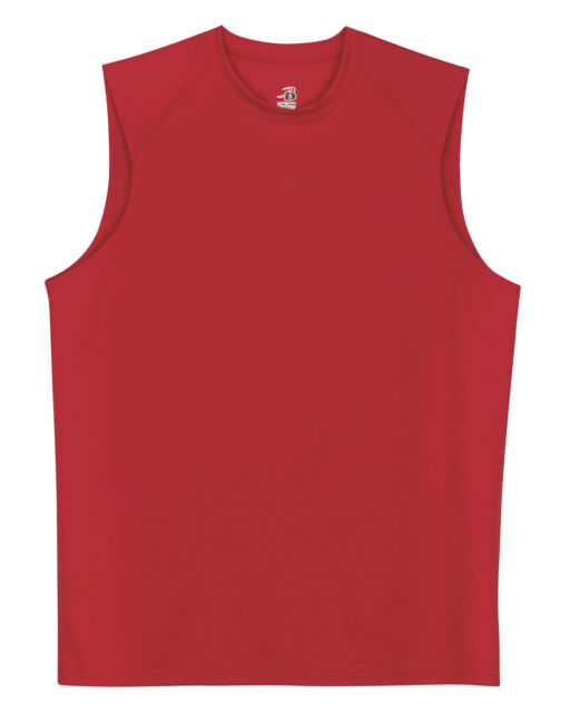 Badger Men's B Dry Moisture Wicking Self Fabric Collar Sleeveless T-Shirt. 4130