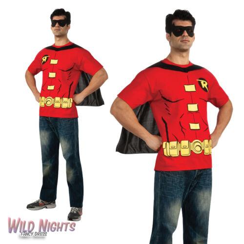 "FANCY DRESS COSTUME ~ MENS DC ROBIN SUPERHERO COMIC T-SHIRT TOP /& CAPE 38/""-46/"""