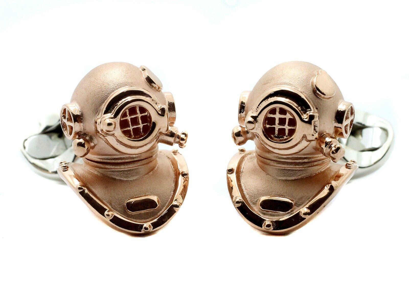 Deakin e Francis argentoo argentoo argentoo Sterling Casco da immersione Gemelli Placcati in oro rosa 2c1913