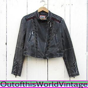 8c0e4e43a Details about Sam Edelman Faux Leather Jacket Straps Buckles Laces Punk  Circus Sexy Motorcycle