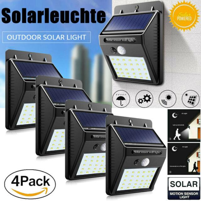 4er 40 LED Solarleuchte Solarlampe mit Bewegungsmelder Außen Gartenlampe IP65