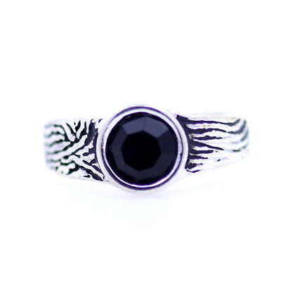 Adjustable vintage Art Deco style silver black ring