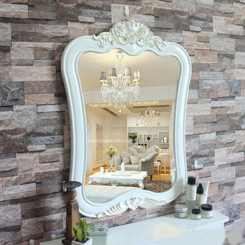 D11 Weiß Gold Bathroom Toilet Vanity Wall Makeup Mirror Front Waterproof Y
