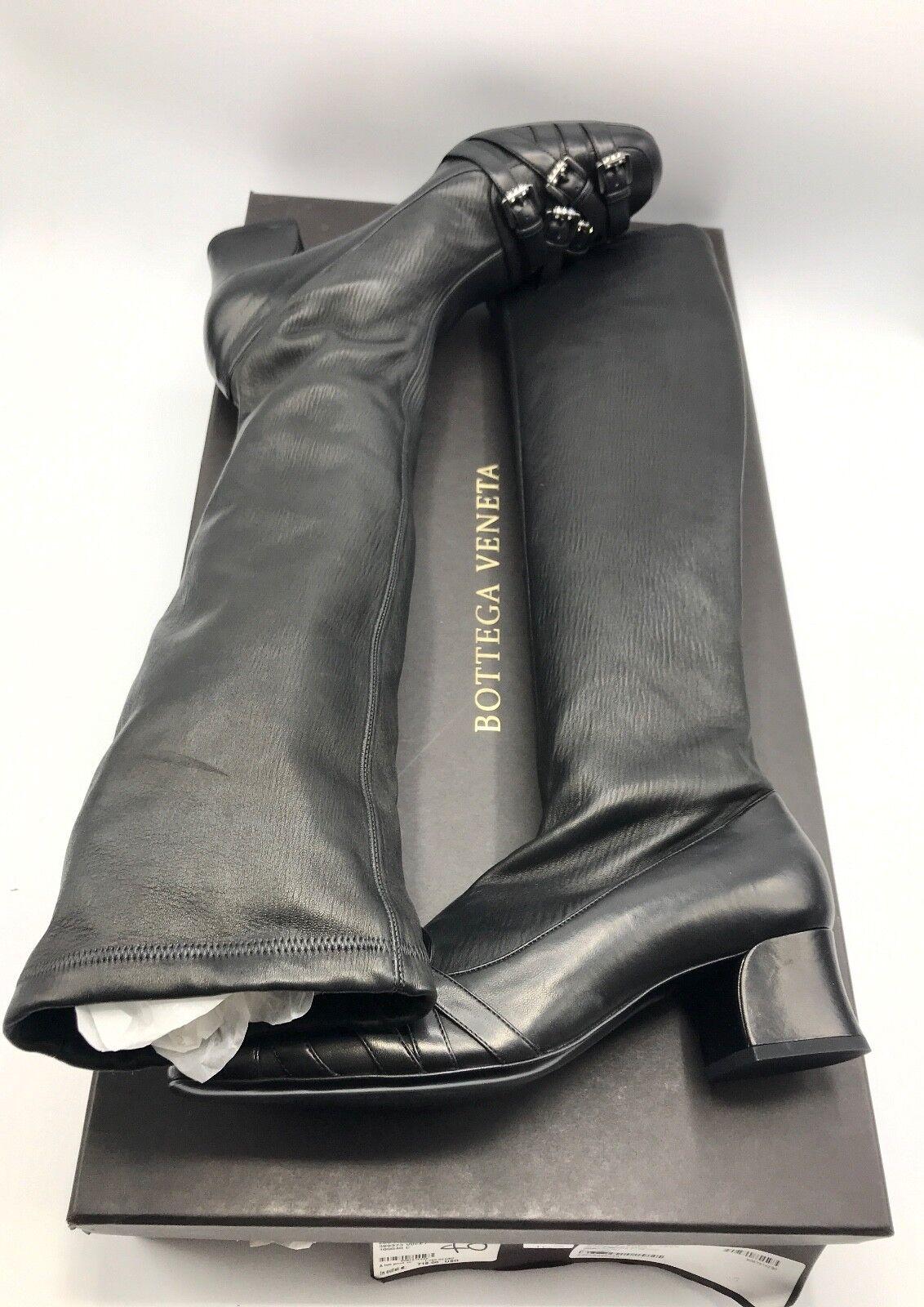 in vendita NIB BOTTEGA VENETA VENETA VENETA Donna  nero Leather stivali scarpe NAPPA STRETCH Dimensione 40 US10  comprare sconti