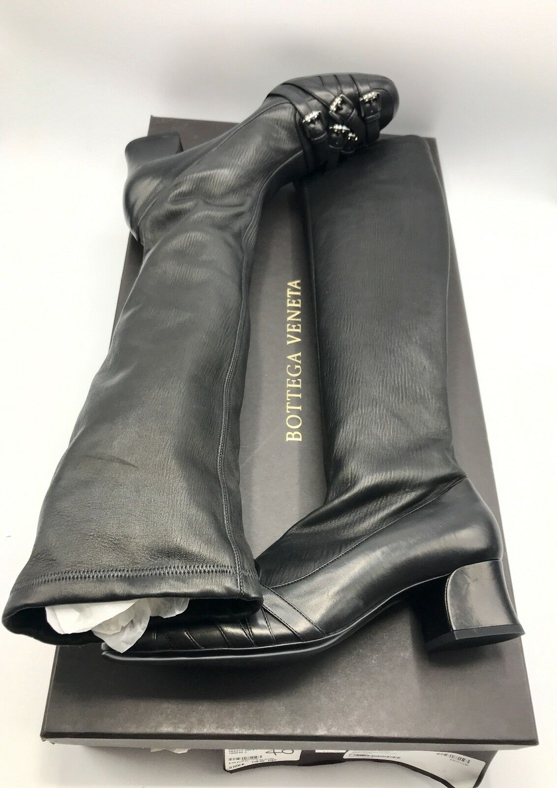 punti vendita NIB BOTTEGA VENETA VENETA VENETA Donna  nero Leather stivali scarpe NAPPA STRETCH Dimensione 40 US10  designer online