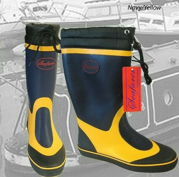 Seafarer Sailing Boat Deck Rubber Wellington Boots Wellies Grey Yellow FREEPOST