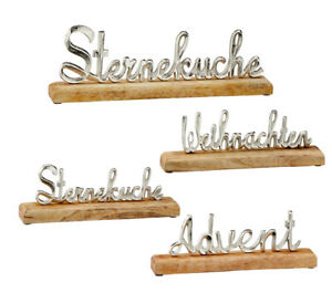 Schriftzug-Sternekueche-Advent-Weihnachten-Alu-silber-Mangoholz-natur-Holzbase