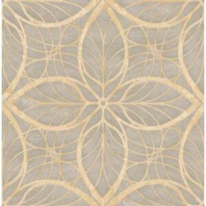Wallpaper-Designer-Reflective-Gray-and-Tan-Leaf-Geometric-Lattice