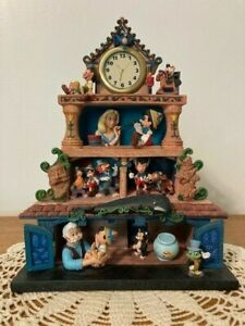 "Disney ""Magic Moments in Time"" Pinocchio Clock w/ Music Box. Very Rare!"