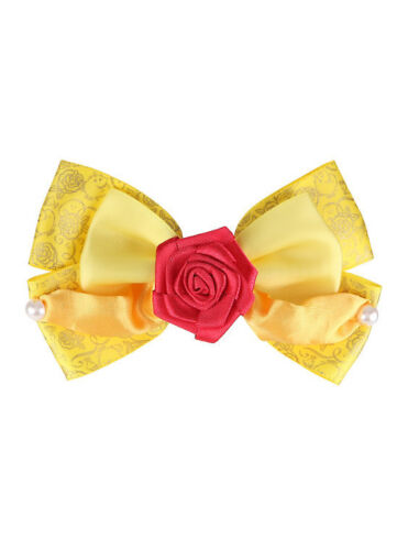Disney Beauty /& the Beast Belle ROSE Yellow Dress Up Costume Cosplay Hair Bow