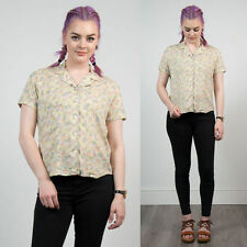 VINTAGE DITSY FLORAL PRINT BLOUSE SHORT SLEEVE WOMENS SHIRT OPEN COLLAR 10 12