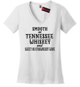 Smooth-As-Tennessee-Whiskey-Ladies-V-Neck-T-Shirt-Funny-Country-Party-Tee-Z5