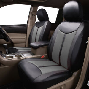 Delux-faux-leather-front-car-seat-covers-protectors-mesh-qality-breathable-grey