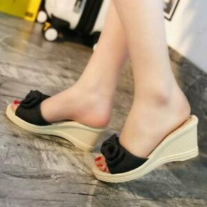 Women-039-s-Bowknot-Slip-On-Wedge-Heel-Sandals-Open-Toe-Casual-Shoes-Slippers