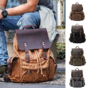Water-Resisant-Vintage-Waxed-Canvas-Backpack-Hiking-Travel-Bag-15-034-Laptop-Bag