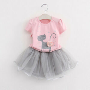 Cute-Summer-Kids-Baby-Girls-T-Shirt-Tops-Tutu-Tulle-Skirt-Outfits-Clothes-Set