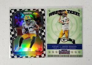 ALLEN-LAZARD-Packers-2020-Prizm-Checkboard-SSP-amp-Aaron-Rodgers-Winning-Ticket