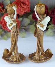 Kerzenleuchter Frau Barock Jugendstil Kerzenständer Antik Kerzenhalter gold Deko