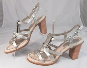 Enzo-Angiolini-EABERRIN-Womens-Heels-Size-7-5-M-Leather-Strappy-Slingback-Silver