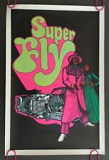 Super Fly vintage Blacklight Poster psychedelic 1970's Movie Car Man Woman