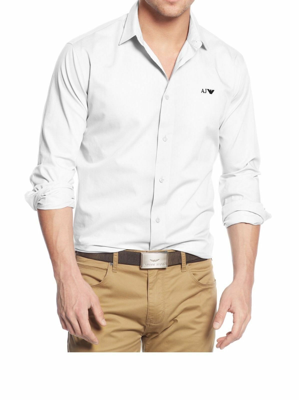 NEW MENS Armani Jeans Long-Sleeve Solid Woven Logo Sport white Shirt