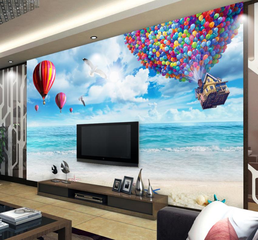 3D Balloons Beach 743 Wall Paper Murals Wall Print Wall Wallpaper Mural AU Kyra