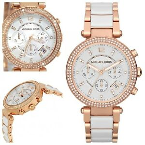 6d1e43a693a9 Image is loading Genuine-Michael-Kors-MK5774-White-Rose-Gold-Parker-