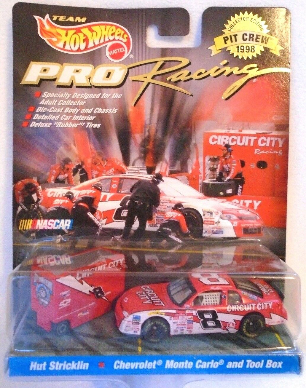 NASCAR Hot Wheels Pro Racing Circuit City Pit Crew 1 64 Car & Tool Box 1998