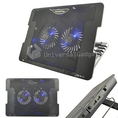 COOLER COOLING PAD STATION 2 USB FAN STAND FOR GAMES CONSOLE LAPTOP NETBOOK