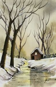 Original-6x4-inch-Painting-Winter-Cottage-by-Bill-Lupton