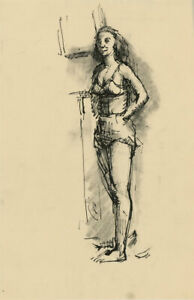 Peter Collins ARCA - c.1970s Pen and Ink Drawing, Lady in Lingerie
