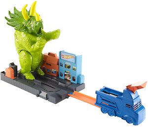 Hot-Wheels-GBF97-Triceratops-Play-Set-Launcher-Vehicle-Giant-Dinosaur-Nemesis
