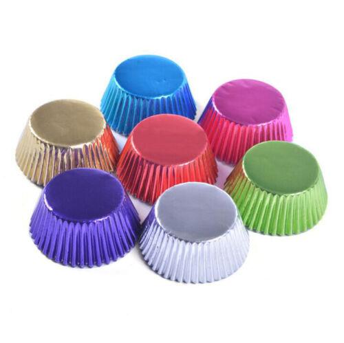 100pcs Runde Form Folie Metallic Papier Muffin Cupcake Liner Backtassen Form