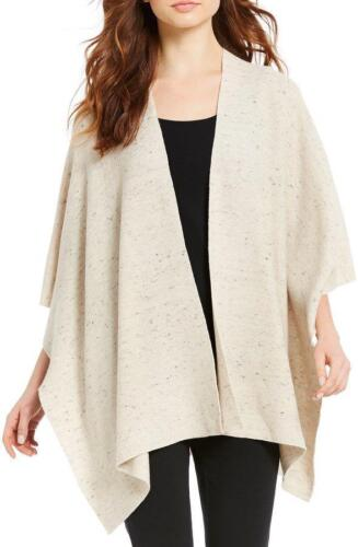 NWT NIP $268 EILEEN FISHER Peppered Organic Cotton Wool Poncho Serape MAPLE OAT
