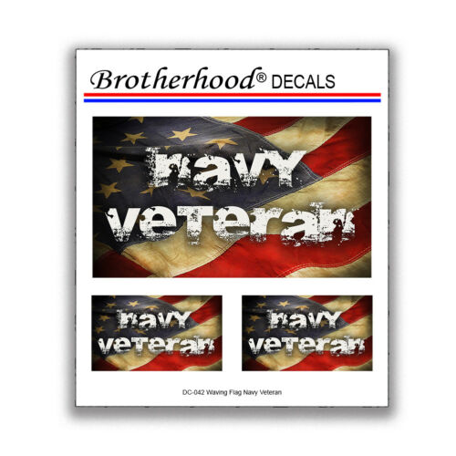 Waving Flag Navy Veteran Vet Military United States 3 pc Decal Collection