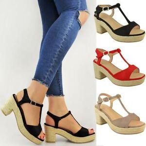173d38a998da3 Image is loading Womens-Ladies-High-Mid-Heel-Platform-Flatform-Sandals-