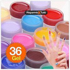36 Gel UV COLORATI PURE Ricostruzione Unghie Nail Art Manicure Decorazione
