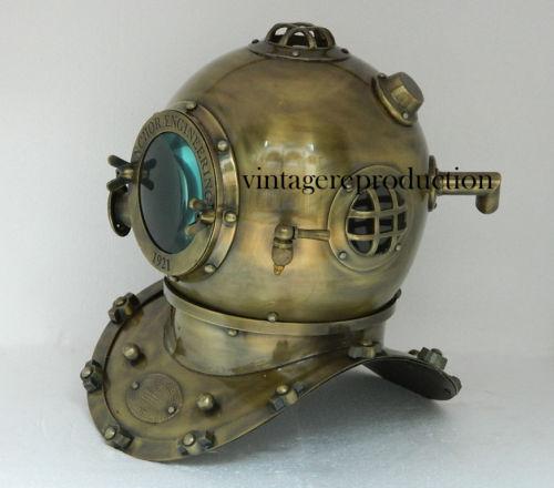 """Royal antiguo casco de Buceo Divers 18/"""" ingeniería de anclaje profundo 1921 Zoom De Vidrio"""