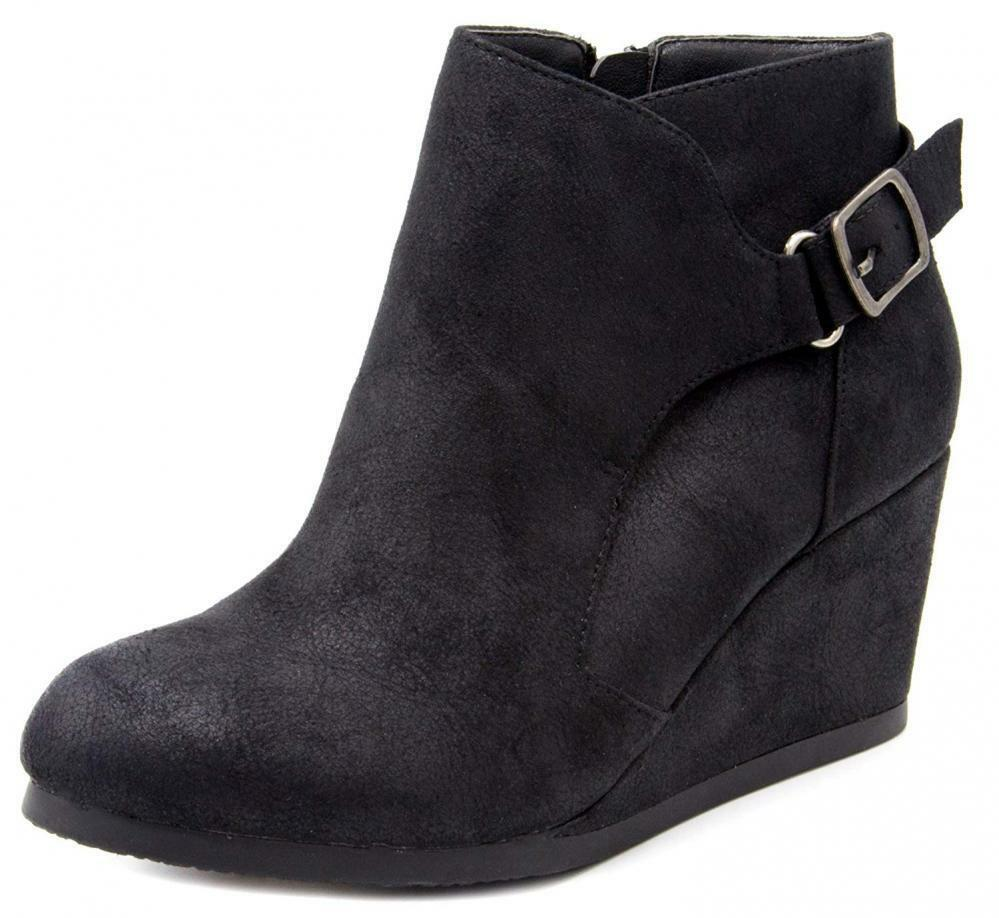London Fog Damenschuhe Martha Wedged Ankle Bootie with Buckle