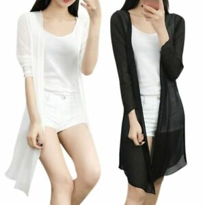 881634b50a5b3 Image is loading Women-Summer-Chiffon-Kimono-Cardigan-Long-Loose-Blouse-