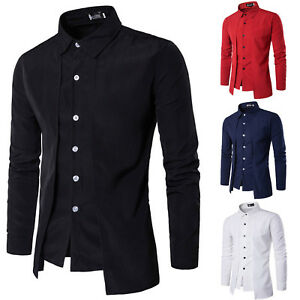 Herren-Hemd-Hemden-Langarm-Business-Anzug-Freizeit-Slim-Fit-Top-Shirt-Hemdbluse