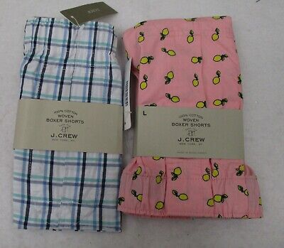 Two  Men/'s J Crew Boxers Large Golfing Dogs /& Plaid  NWT