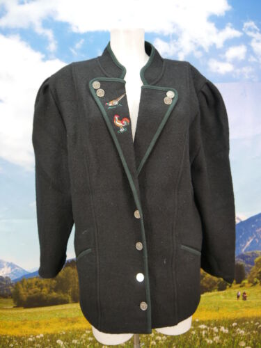 nera Leggera ricamo con giacca giacca a tradizionale sbuffo e Gr di lana 42 maniche con rSSn48T